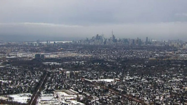 The Toronto skyline is seen from the CTV News chopper on Friday, Jan. 30, 2015.