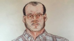 A sketch of Allan Schoenborn as he appeared at a February 2015 review board hearing. Schoenborn is once again seeking temporary supervised releases into the community. (Felicity Don/CTV)