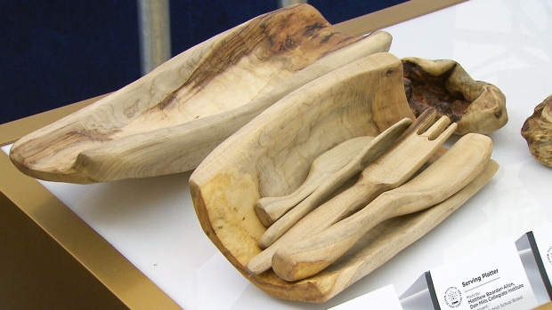 Objects created from the wood of a fallen Silver Maple that is believed to have inspired the song 'Maple Leaf Forever' are on display in the city hall rotunda from Feb. 15-18.