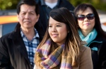 Nina Pham smiles during a news conference with Dallas Mayor Mike Rawlings at Hensley Field in Grand Prairie, Texas, Nov. 1, 2014. (Forth Worth Weekly / 360 West)