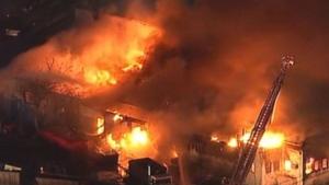 Fire crews battle blaze
