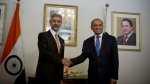Indian Foreign Secretary Subrahmanyan Jaishankar, left, poses for photographers, as he shakes hands with his Pakistani counterpart Aizaz Chaudhry at the foreign ministry in Islamabad, Pakistan on March 3, 2015. (AP / B.K. Bangash)