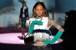 """A model is dressed in an outfit from Dsquared2's """"Dsquaw"""" fall-winter fashion line. (Facebook)"""
