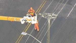 Hydro crews working to restore power