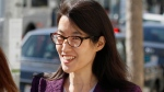 Ellen Pao, who alleges gender bias, leaves the Civic Center Courthouse in San Francisco, on Tuesday, Feb. 24, 2015. (AP Photo/Eric Risberg)