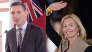 Ontario PC leadership hopefuls Patrick Brown and Christine Elliott are seen in this composite photo. (CTV Barrie / THE CANADIAN PRESS)