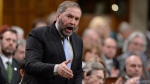 NDP Leader Tom Mulcair asks a question during Question Period in the House of Commons in Ottawa on Wednesday, March 25, 2015. (Sean Kilpatrick / THE CANADIAN PRESS)