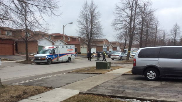 The scene on McGraw Avenue in Brampton where a fatal stabbing occurred, on Thursday, March 26, 2015. (Steve Ross)