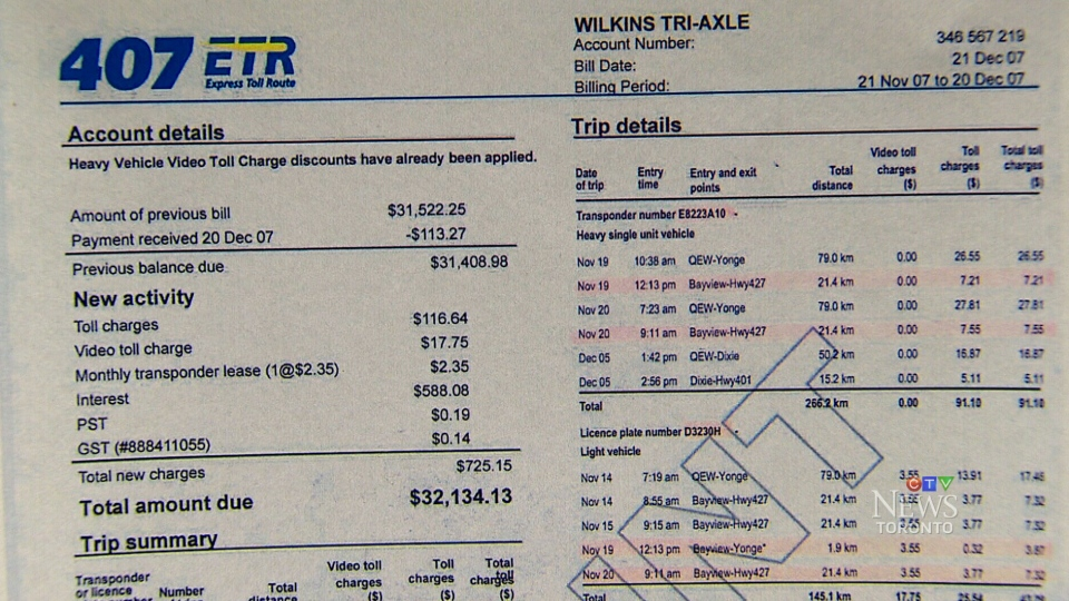 A 407 ETR invoice for Wilkins Tri-Axle is shown.