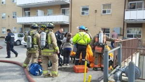 Emergency crews respond to the scene of a fire in Etobicoke on Tuesday, March 31, 2015. (Jorge Costa / CTV Toronto)