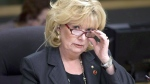 In this February 2013 photo from a meeting in Ottawa, Sen. Pamela Wallin adjusts her glasses. After an 18-month investigation, the RCMP has handed their file into Sen. Pamela Wallin's questionable expense claims over to Crown prosecutors, CTV News has learned.