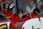 Calgary Flames' Johnny Gaudreau celebrates his goal during first period NHL hockey action against the Edmonton Oilers in Calgary on Dec. 27, 2014. (Jeff McIntosh / The Canadian Press)