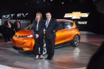 General Motors Chief Executive Officer Mary Barra and Executive Vice President and President of North America Alan Batey introduce the 2016 Chevrolet Volt at the North American International Auto Show in Cobo Center in Downtown Detroit Monday Jan. 12, 2015. (AP Photo/The Grand Rapids Press, Tanya Moutzalia)