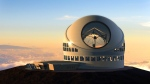 This undated file artist rendering made available by the TMT Observatory Corporation shows the proposed Thirty Meter Telescope, planned to be built atop Mauna Kea, a large dormand volcano in Hilo on the Big Island of Hawaii in Hawaii. (TMT Observatory Corporation / AP Photo)
