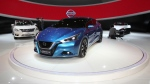 "Japan's Nissan Motor Co. will also introduce a mid-size sedan at the show, the Lannia, a concept version of which was on display at the China International Exhibition Center during the ""Auto China 2014"" Beijing International Automotive Exhibition in Beijing on April 20, 2014. (AFP PHOTO)"