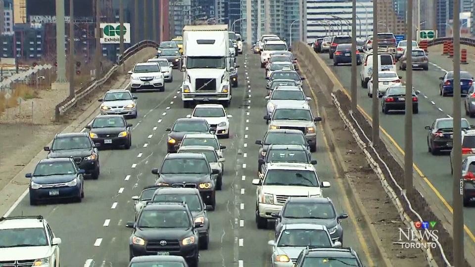 This photo shows congestion on the Gardiner Expressway.