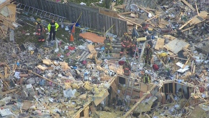 LIVE2: Aerial view of house explosion aftermath