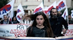 Members of the PAME Communist-affiliated union demonstrate in central Athens on April 24, 2015. (AP / Petros Giannakouris)