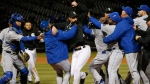 Chicago White Sox's Jeff Samardzija, centre, fights with Kansas City Royals players in Chicago on April 23, 2015. (THE CANADIAN PRESS / AP, Andrew A. Nelles)