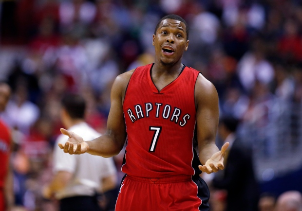 Toronto Raptors guard Kyle Lowry (7) reacts to a foul call in the first half of Game 4 in the first round of the NBA basketball playoffs against the Washington Wizards on April 26, 2015, in Washington. (Alex Brandon/ AP Photo)