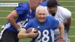 Bryan Sperry, 89, scores a touchdown during a University of Kansas alumni scrimmage in this video posted to YouTube. (Kansas Athletics / YouTube)