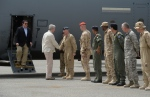 Prime Minister Stephen Harper arrives at Camp Patrice Vincent in Kuwait on Sunday, May 3, 2015. (THE CANADIAN PRESS/Sean Kilpatrick)