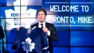 Toronto Maple Leafs new head coach Mike Babcock poses following a press conference in Toronto on Thursday, May 21, 2015. (Darren Calabrese /  THE CANADIAN PRESS)