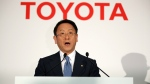Toyota President Akio Toyoda delivers remarks during a press conference in Tokyo on May 8, 2015. (AP / Eugene Hoshiko)