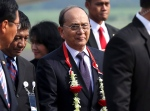 In this file photo, Myanmar President Thein Sein arrives at Halim Perdanakusumah Airport in Jakarta, Indonesia, on Apr. 21, 2015. (AP / Tatan Syuflana)
