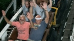 FILE - Vic Kleman (in the headband) takes his 4,000th ride on Kennywood's Jack Rabbit roller coaster,  in West Mifflin, Pa., on Aug. 15, 2010. (AP Photo/Picsolve/Kennywood)