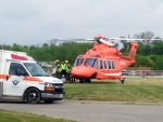 An air ambulance was called in after a man fell from scaffolding at a water treatment plant off Mill Park Drive in Kitchener on Wednesday, May 27, 2015. (Marc Venema / CTV Kitchener)