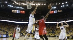 Houston Rockets guard James Harden shoots against Golden State Warriors centre Andrew Bogut during the second half of Game 5 of the NBA basketball Western Conference finals in Oakland, Calif. on May 27, 2015. (AP / Tony Avelar)