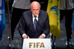 FIFA President Sepp Blatter speaks at the opening ceremony of the FIFA congress in Zuerich, Switzerland, Thursday, May 28, 2015. (Walter Bieri / Keystone via AP)
