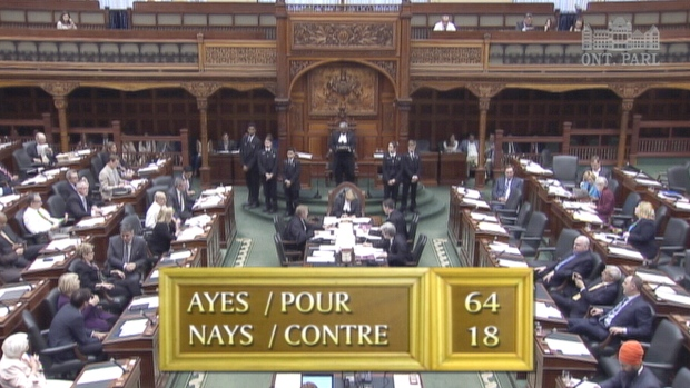 MPPs vote to pass back-to-work legislation for striking Ontario teachers, in the Ontario Legislature in Toronto, Thursday, May 28, 2015.