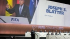 FIFA President Joseph S. Blatter, front left, speaks during the 65th FIFA Congress held at the Hallenstadion in Zurich, Switzerland, Friday, May 29, 2015, where he runs for re-election as FIFA head. (Patrick B. Kraemer / Keystone)