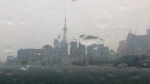 This photo shows the City of Toronto skyline on a rainy May 30.