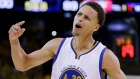 Golden State Warriors guard Stephen Curry (30) celebrates during the second half of Game 5 of basketball's NBA Finals against the Cleveland Cavaliers in Oakland, Calif., Sunday, June 14, 2015. (AP /Ben Margot)
