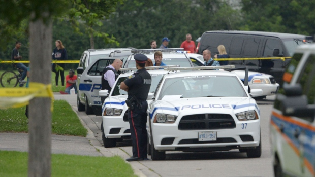 Police tape blocks the scene of a stabbing in Brampton on Tuesday, June 30, 2015. (Andrew Collins / CTV Toronto)