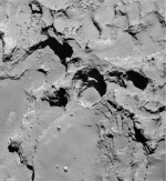 This Dec. 21, 2014 photo made by the European Space Agency's Rosetta spacecraft and provided by researchers led by Jean-Baptiste Vincent shows the most active pit, known as Seth_01, which scientists believe is one of several sinkholes on the comet 67P/Churyumov-Gerasimenko. (Vincent et al., Nature Publishing Group, ESA)