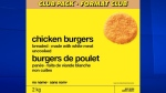 Loblaw Companies Ltd. is recalling chicken burgers sold in Atlantic Canada, Ontario and Quebec under its No Name brand because of possible salmonella contamination. (Loblaw Companies Limited)