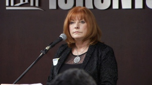 Philomena Comerford, president and CEO of Baird MacGregor Insurance Brokers, speaks at Toronto City Hall on Thursday, July 2, 2015.