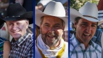 Prime Minister Stephen Harper, NDP Leader Tom Mulcair and Liberal Leader Justin Trudeau are shown in this composite image as they attend the Calgary Stampede parade in Calgary on Friday, July 3, 2015. (Jeff McIntosh / THE CANADIAN PRESS)