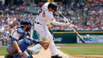 Detroit Tigers' Nick Castellanos hits a double against the Toronto Blue Jays during the first inning of a baseball game Saturday, July 4, 2015, in Detroit. (Duane Burleson/AP Photo)