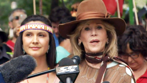 Actor and activist Jane Fonda is in Toronto to support a rally aimed at bringing attention to climate change, employment and justice issues in Canada.