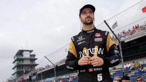 James Hinchcliffe, of Canada, waits for his turn to qualify for the Indianapolis 500 auto race at Indianapolis Motor Speedway in Indianapolis on May 17, 2015. (Darron Cummings / The Canadian Press)