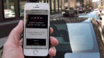 The ride-sharing app Uber is shown on a smartphone in Montreal, on Thursday, May 14, 2015. (THE CANADIAN PRESS/Ryan Remiorz)