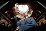 A butler holds up a glass of water from the Water Menu at the Merchant Hotel, in Belfast, Northern Ireland, on Thursday, July 23, 2015. (Merchant Hotel / Facebook)