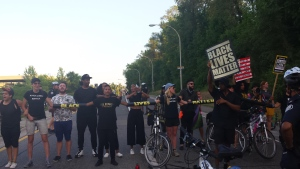 Protestors block traffic both north and south on Allen Expressway at Eglinton Avenue on July 27. (Twitter / BlackLivesMatter TO)