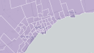 This map shows the ridings in the 2015 federal election in the GTA.