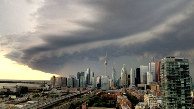 Dark clouds hang in the sky as a severe storm passes through southern Ontario on Aug. 2, 2015. (CTV Toronto)